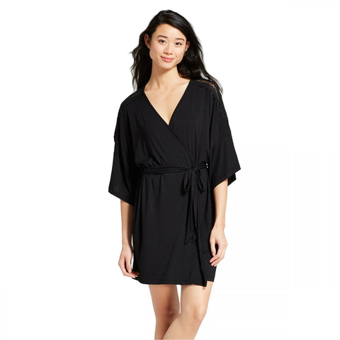 Gilligan & O'Malley Women's Total Comfort Short Sleeve Lace Shoulder Robe