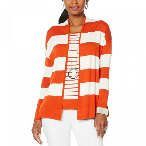 MarlaWynne Women's Striped Sweater Cardigan