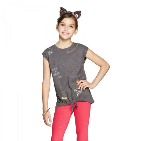 Cat & Jack Girls' Tie Front Embroidered Imagination Cap Sleeve Graphic Top