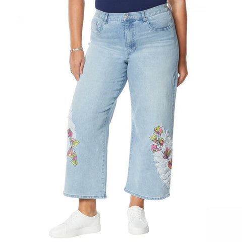 DG2 By Diane Gilman Women's Plus Size Embroidered Cropped Wide Leg Jeans