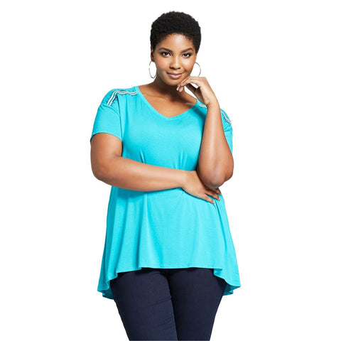 Ava & Viv Women's Plus Size Embroidered V-Neck Flowy T-Shirt Top