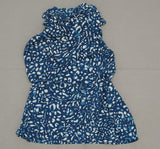 Prologue Women's Sleevless Ruffle Tunic Patterned Blouse Blue Large