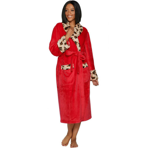 Dennis Basso Women's Plush Robe with Leopard Faux Fur. H213176
