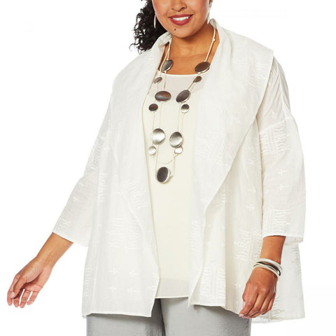 MarlaWynne WynneLayers Women's Plus Size Embroidered Cotton Voile Topper