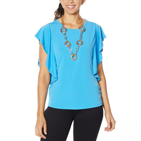 IMAN Women's Plus Size Boho Chic Flutter Sleeve Top With Necklace