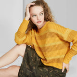 Wild Fable Women's Striped Crewneck Oversized Sweater