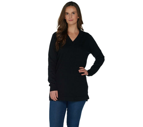 Martha Stewart Women's Long Sleeve V-Neck Sweater with Side Slits. A307714