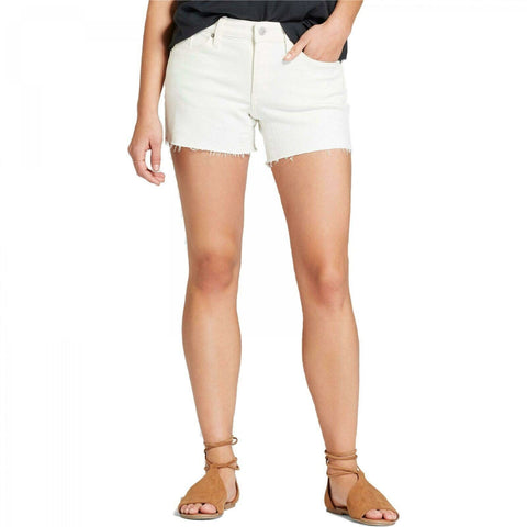 Universal Thread Women's Mid-Rise Raw Hem Midi Denim Jean Shorts