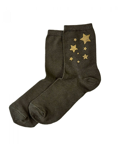 HUE Women's Metallic Star Shortie Crew Socks. U20216