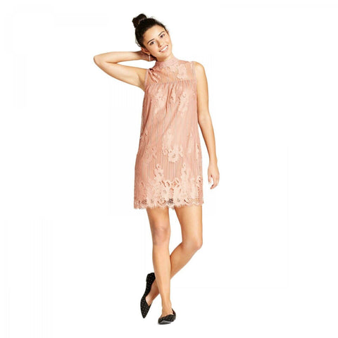 Xhilaration Women's Lined Lace Mockneck Shift Partry Dress