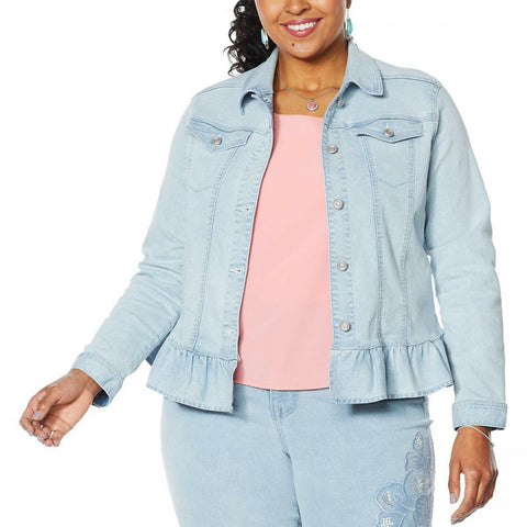 DG2 by Diane Gilman Women's Plus Size Ruffled Hem Stretch Denim Jacket