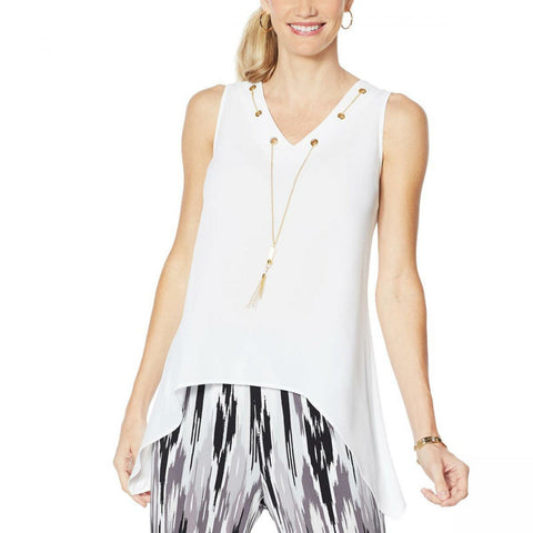 IMAN Women's Plus Size City Chic Sleeveless Necklace Top