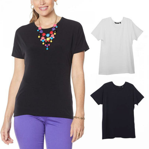 IMAN Women's City Chic 2 Pack of T-Shirts and Necklace