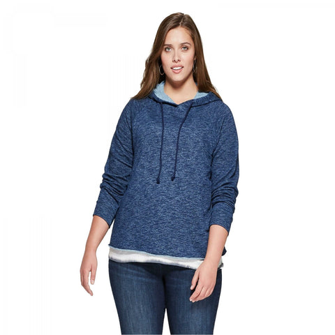 Universal Thread Women's Indigo Raw Edge Hoodie Sweatshirt