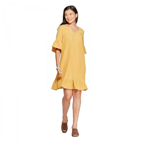 Loramendi Women's Short Sleeve Ruffle Gauze Linen Shift Dress
