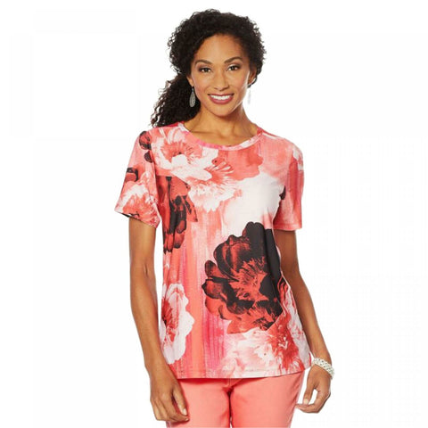 DG2 by Diane Gilman Women's Short Sleeve Printed T-Shirt