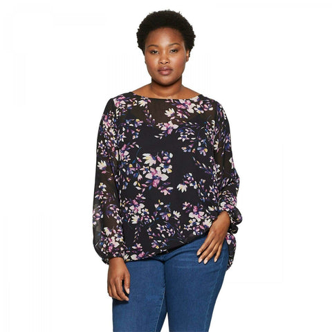 Ava & Viv Women's Plus Size Floral Print Long Sleeve Blouse with Cami