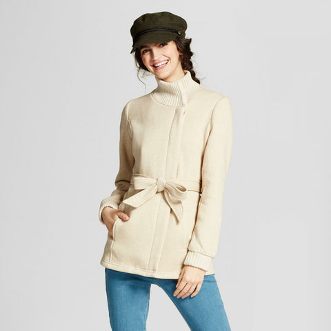 Mossimo Women Button Front Ribbed Collar Fleece Wrap Jacket Oatmeal Medium