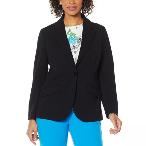 DG2 by Diane Gilman Women's Plus Size Stretch Crepe Blazer