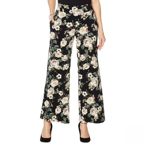 Nina Leonard Women's Plus Size Stretch Crepe Wide Leg Pants With Pockets