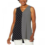 Nina Leonard Women's Jersey Knit Twin Print Sleeveless Tunic Top. 652772