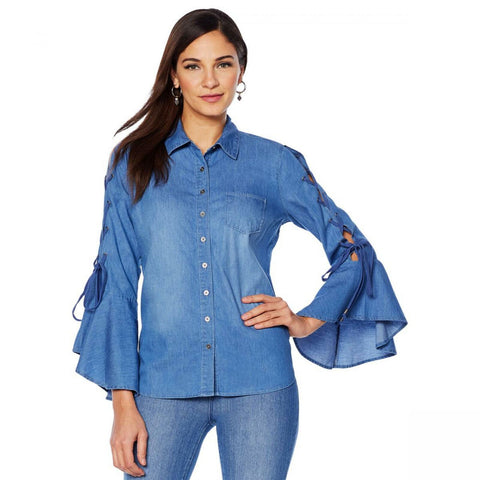 DG2 by Diane Gilman Women's Plus Size Denim Shirt With Lace-Up Sleeves
