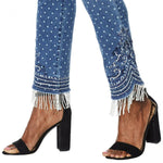 DG2 by Diane Gilman Women's Petite Stretch Embroidered Jean With Bead Fringe