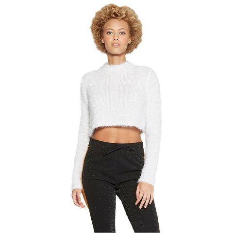 Wild Fable Women's Fuzzy Crop Mockneck Pullover Sweater
