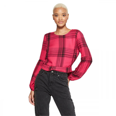 Wild Fable Women's Long Sleeve Tie Back Plaid Top Blouse Shirt