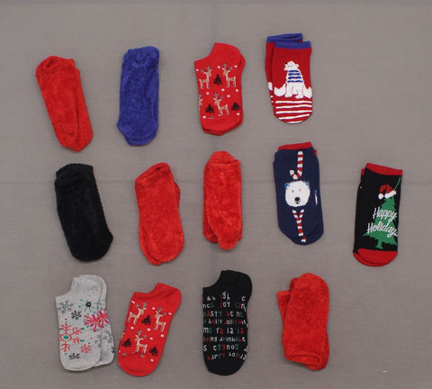 HUE Women's LOT OF 13 Pairs Assorted Fuzzy Holiday Liner Socks