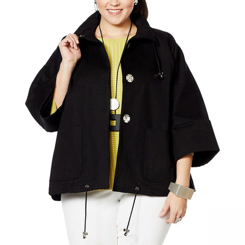 MarlaWynne Women's Plus Size Canvas Drama Snap Front Jacket With Pockets