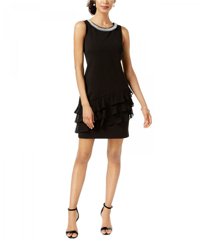 Connected Apparel Women's Embellished Ruffled Dress. TJE40255M1 Black 6