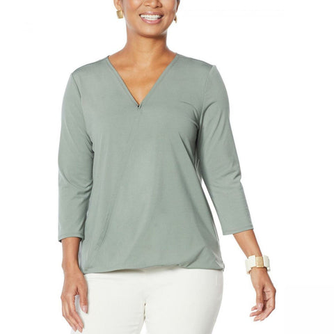 MarlaWynne WynneLayers Women's Twist Front Surplice Knit Top