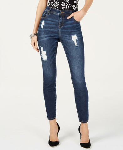 INC International Concepts Women's Destructed Skinny Jeans Dark Indigo 12