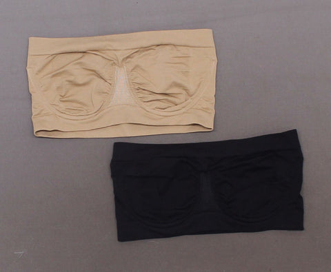 Rhonda Shear 2 Pack Seamless Underwire Bandeau Bra Black/ Nude Small