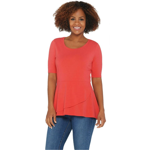 Isaac Mizrahi Live! Women's Elbow Sleeve Peplum Flounce Knit Top. A303962