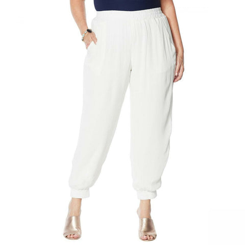 Curations Women's Plus Size Gauze Jogger Pants with Slash Pockets