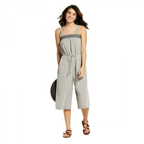 Universal Thread Women's Striped Smocked Jumpsuit
