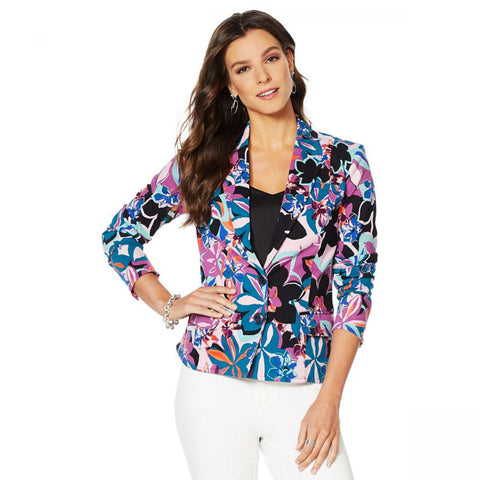 MOTTO Women's Button Front Stretch Sateen Blazer