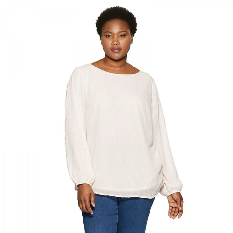 Ava & Viv Women's Plus Size Long-Sleeve Flowy Chiffon Blouse with Cami