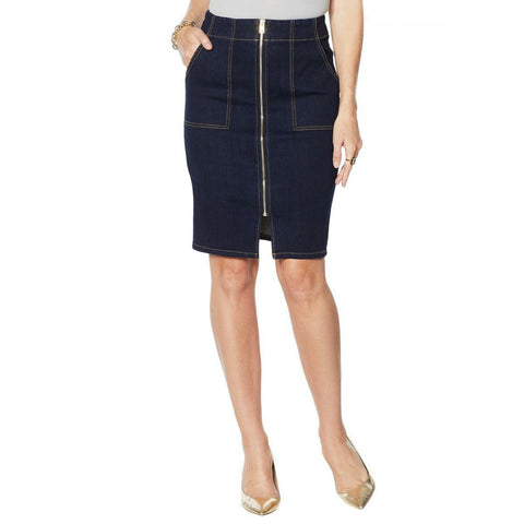 G by Giuliana Women's Straight Zip Front Denim Skirt