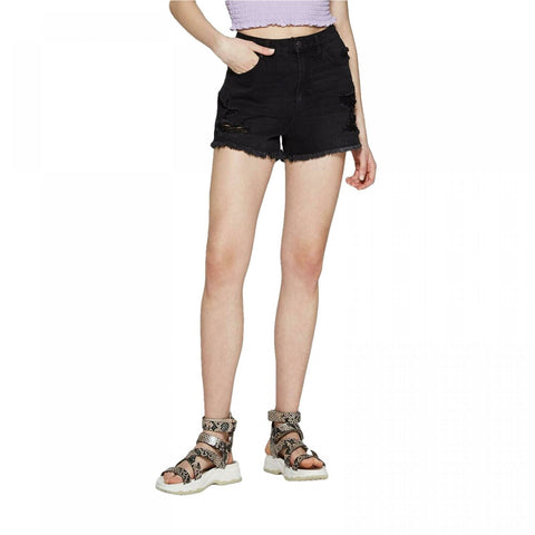 Wild Fable Women's High-Rise Cut Off Destructed Mom Jean Shorts