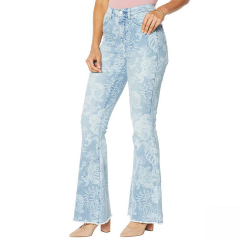 DG2 by Diane Gilman Women's Tall Classic Stretch Printed Flare Jeans