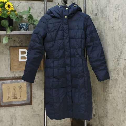 Cole Haan Women's Box Quilt Down Puffer Coat Navy Small