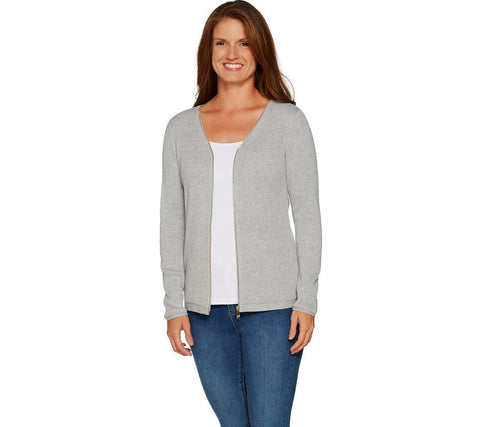 Belle by Kim Gravel Women's Grey Goldtone Zip Ribbed Knit Cardigan Sweater