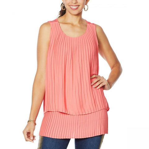 DG2 by Diane Gilman Women's Plus Size Front Pleated Mixed Media Tank Top