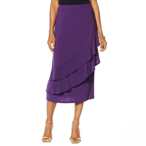 Antthony Women's Plus Size Captivating Collection Tiered Ruffle Skirt