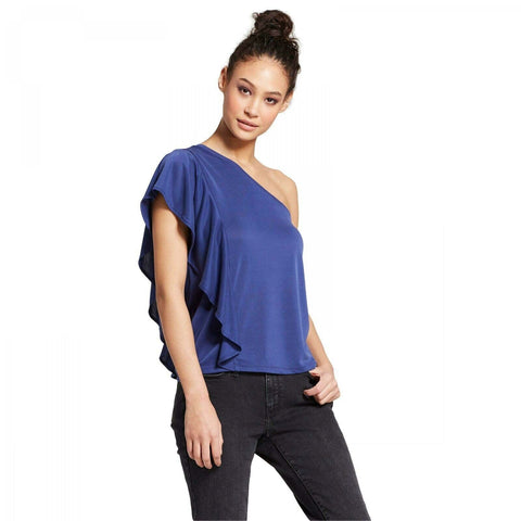 Mossimo Women's Modal Blend One Shoulder Ruffle Top