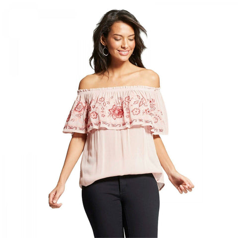 Knox Rose Women's Floral Embroidered Off The Shoulder Blouse Top