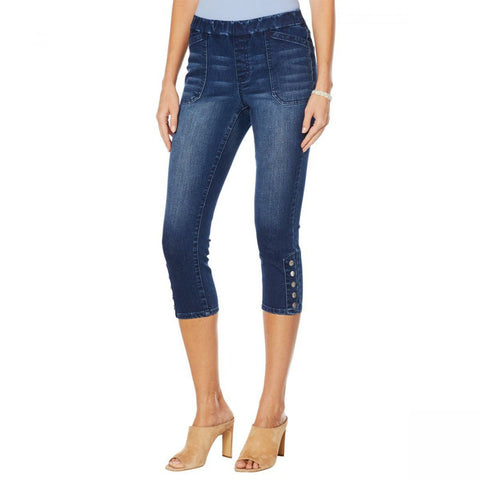 MOTTO Women's Modern Stretch Denim Pull On Cropped Jeans